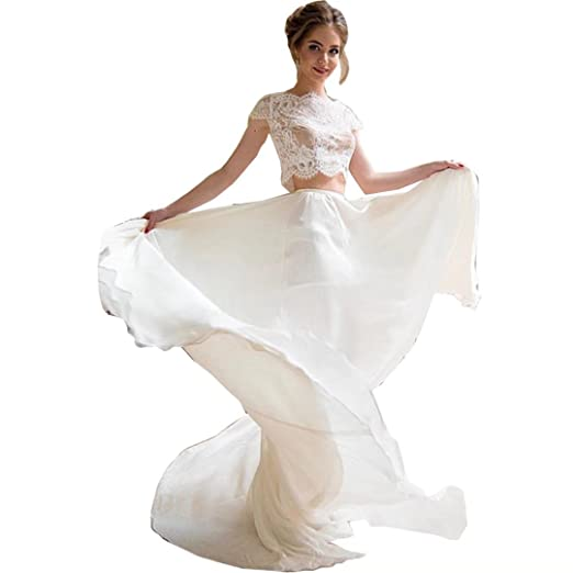 Dingdingmail Two Piece Lace Wedding Dresses For Bride Chiffon Beach