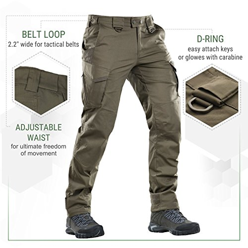Aggressor Flex – Tactical Pants – Men Cotton Cargo Pockets (Olive Dark, M/R)