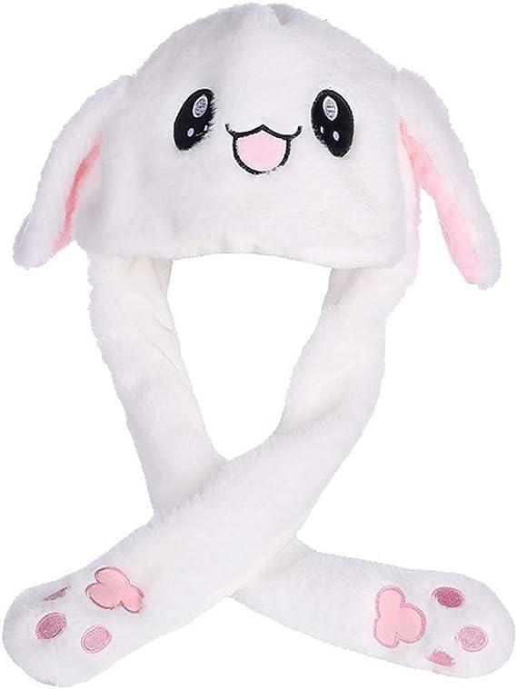 f/ête IronBuddy Chapeau de lapin qui bouge les oreilles Chapeau amusant en peluche Pour cosplay Blanc No/ël Pour femme et fille