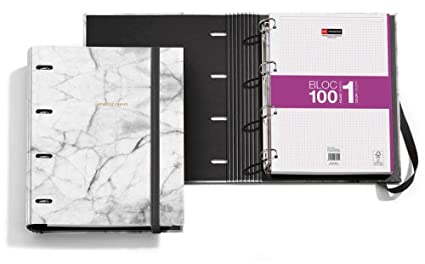 Archivador + Bloc Notebook Golden Collection Marble: Amazon ...