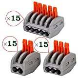 HIFROM 3 Type 2/3/5 Port Lever-Nut Lever Conductor Compact Wire Connectors PCT-212/PCT-213/PCT-215 Terminal Block Wire Push Cable Connector for Junction Box Assortment Pack (45 Pack)