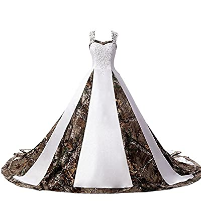 ZVOCY Women's Camouflage Wedding Dresses for Bride Satin Camo Long Formal Gown for Wedding White