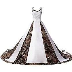 ZVOCY Women's Satin Ball Gown Camouflage Wedding Dresses for Bride Camo Wedding Dress White 16