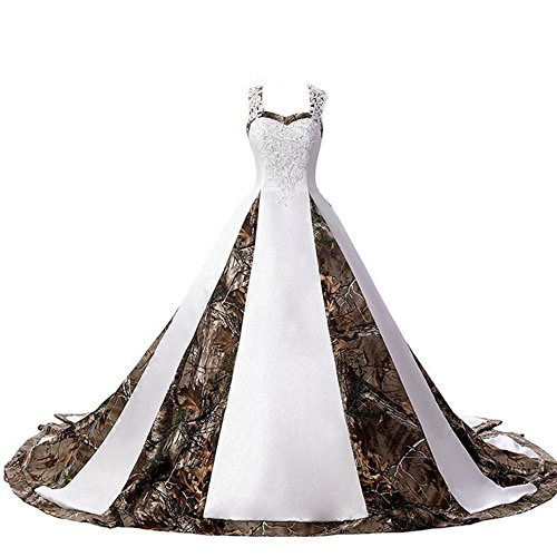 ZVOCY Women's Camouflage Wedding Dresses for Bride Satin Camo Long Formal Gown for Wedding White White 16