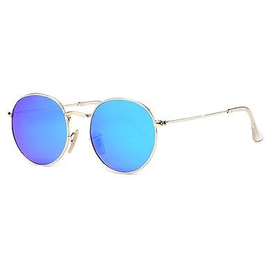 d2cf0a8b6814f1 kimorn Polarisierte Sonnenbrille Unisex Klassische Runde Metallrahmen Retro  Sonne Gläser K0556 (Gold Blau)