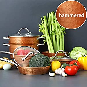 Kitchen Academy Hammered Kitchen Cookware Sets, Kitchen Pots and Pans Set 10