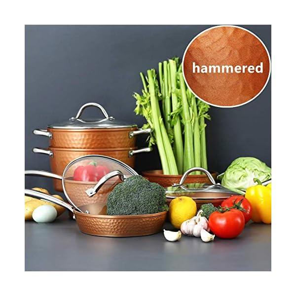 Kitchen Academy Hammered Kitchen Cookware Sets, Kitchen Pots and Pans Set 1