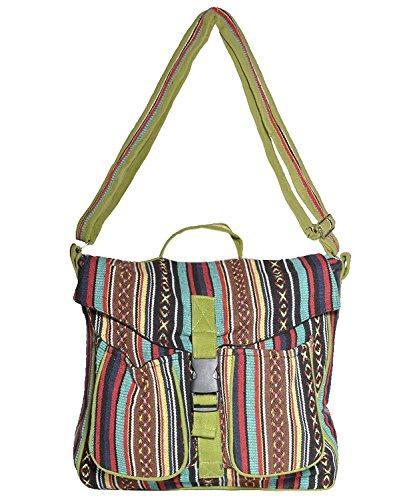 Cotton canvas bohemian hippie messenger bag crossbody bag sling muticolor