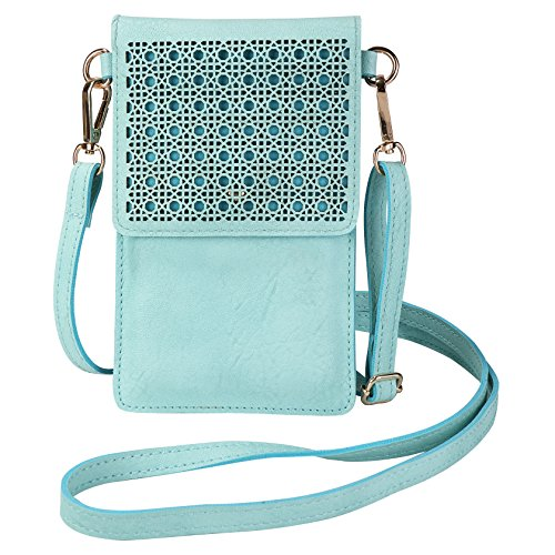 AnsTOP Lightweight Leather Pouch Small Crossbody Bag Cell Phone Purse Wallet with 2 Shoulder Straps for Women, Fit with Apple iPhone X/8 Plus/8 (Mint Green)