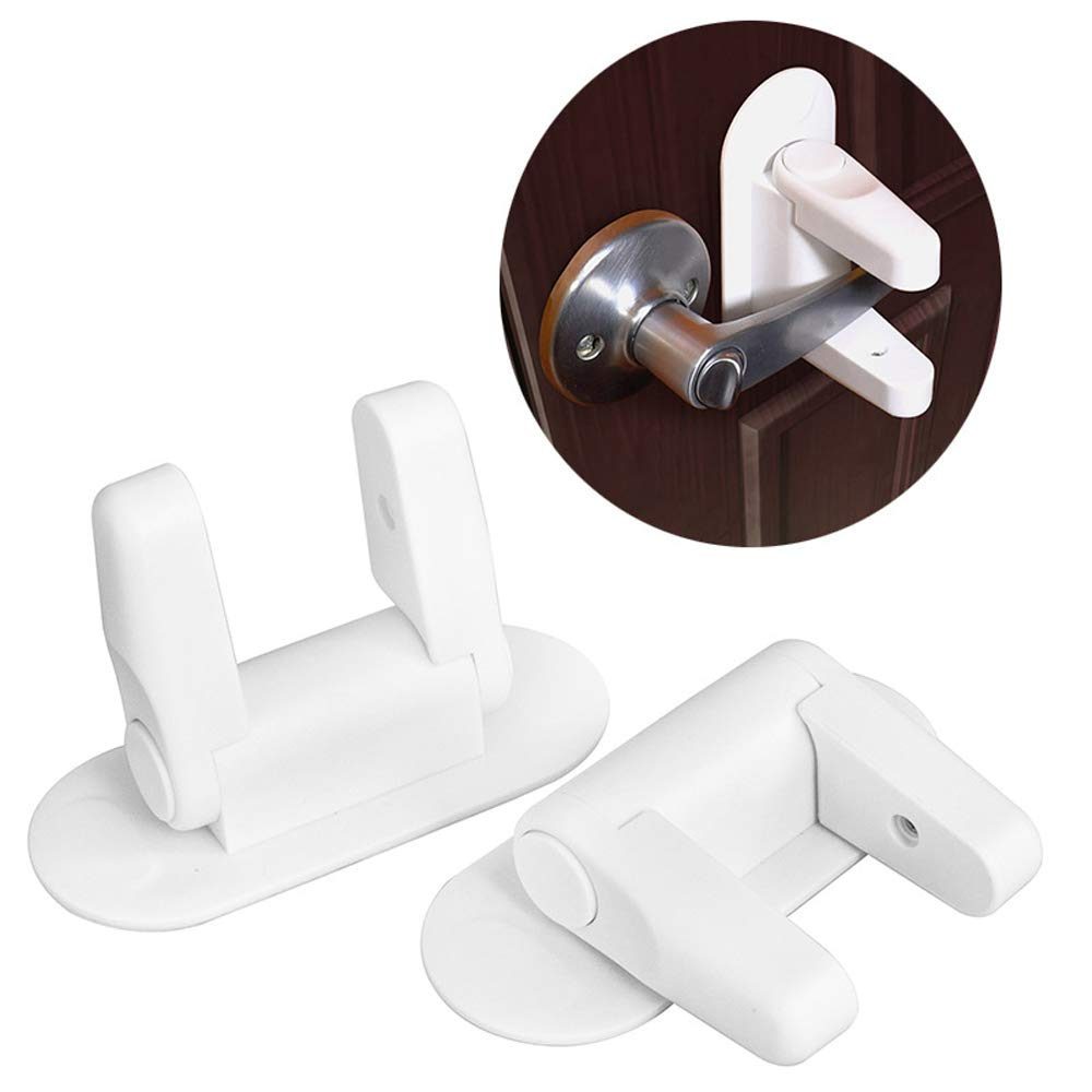 Baby Safety Locks,2 Pack Baby Safety Cabinet Locks, Door Lever Lock Baby Saftey Lock Door Handle Lever Lock for Child Proof Doors Handles with 3M Adhesive Child Safety Lock BSL-2
