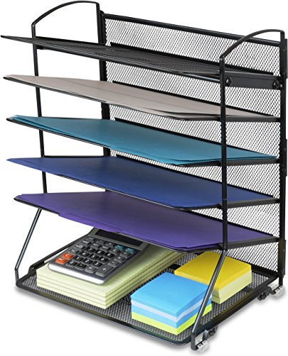 Black MyGift Metal Wire Mesh 6-Tier Office Letter Trays//Document and File Folder Organizer