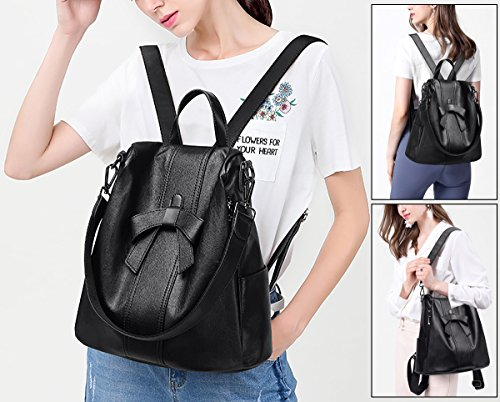 Shoulder Decoration Backpack Brown Ladies Convertible Rucksack Women Handbag Black PU UTO Ways Theft Bag Leather Anti Washed Bowknot 3 RWgfTwzaq