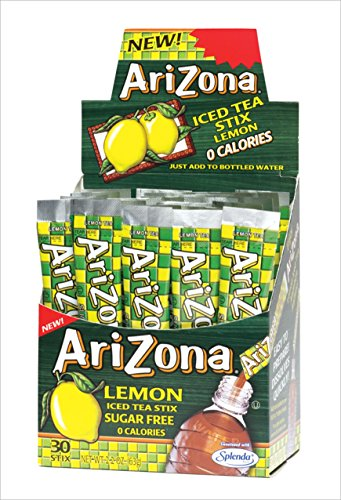 Arizona Lemon Iced Tea Stix Sugar Free, 30 Count Box (Pack of 1), Low Calorie Single Serving Drink Powder Packets, Just Add Water for a Deliciously Refreshing Iced Tea Beverage