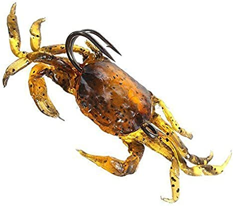 Brown Salt Fishing Tackle Lure Soft 3D Crab Simulation Saltwater Hook Bait