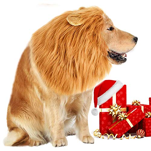 Lion Mane Costume for Dog - Lion Dog Costume Lion Wig Funny Adjustable Easy to Fit Medium to Large Sized Dog for Halloween Christmas Party with Ears,Large Dog Costume for Pet as Lion King]()