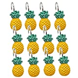 YING CHIC YYC Set of 12 Cute Pineapple Shower Curtain Hooks Decorative Bathroom Resin Shower Curtain Rings