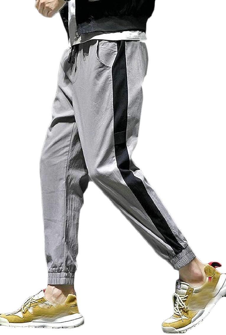 Yayu Men Cotton Linen Drawstring Elastic Waist Closed Bottom Joggers Loose Pants