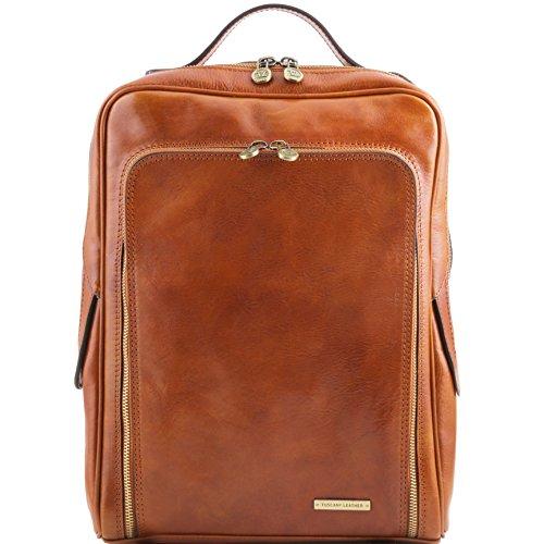Tuscany Leather Bangkok Leather laptop backpack Honey by Tuscany Leather