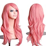 HOVEOX Hair Wig Synthetic Fibers Short Curly Full Wigs for Cosplay Costume Pink 28''/70CM
