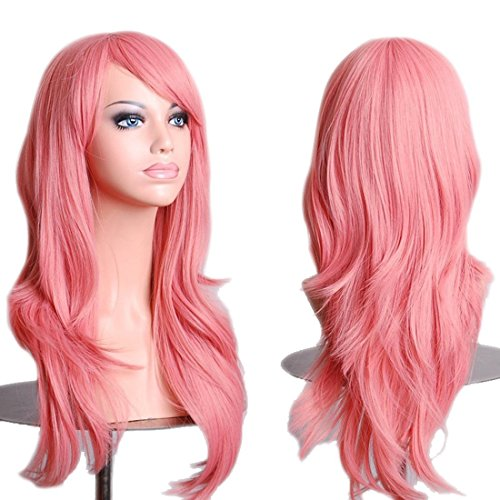 HOVEOX Hair Wig Synthetic Fibers Short Curly Full Wigs for Cosplay Costume Pink 28''/70CM (Adult Short Pink Wig)