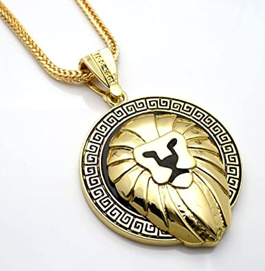 Amazon hip hop bling gold tone lion head pendant necklace hip hop bling gold tone lion head pendant necklace free 36quot aloadofball Image collections