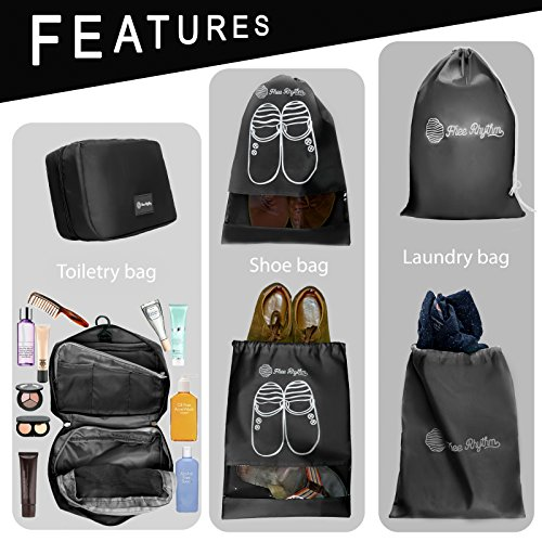 Packing Cubes Travel Set 7 Pc Luggage Carry-On Organizers Toiletry & Laundry Bag by Free Rhythm (Image #5)