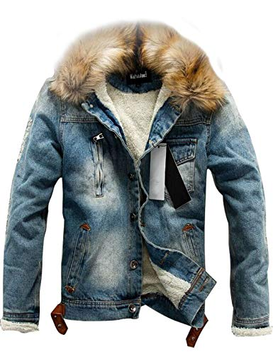 (Omoone Men's Button Up Sherpa Fleece Lined Denim Jacket with Faux Fur Collar (Blue, L))