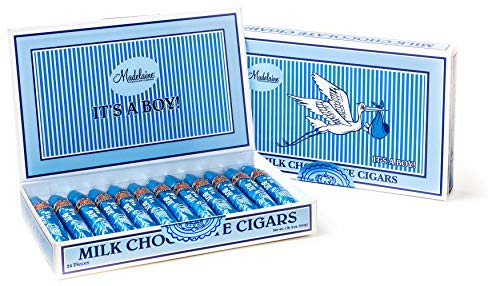 Madelaine Premium Milk Chocolate Cigars - It's a Boy Baby Shower Favors Gift Box - Individually Wrapped In Blue Italian Foils - 24 -