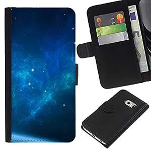 KingStore / Leather Etui en cuir / Samsung Galaxy S6 EDGE / El Espacio de la galaxia azul