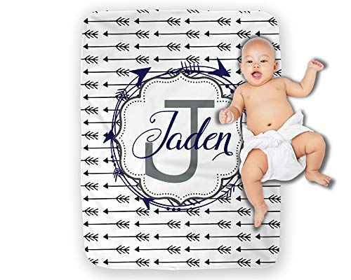 Personalized Baby Blanket Boy Monogram Arrows by Right On The Walls