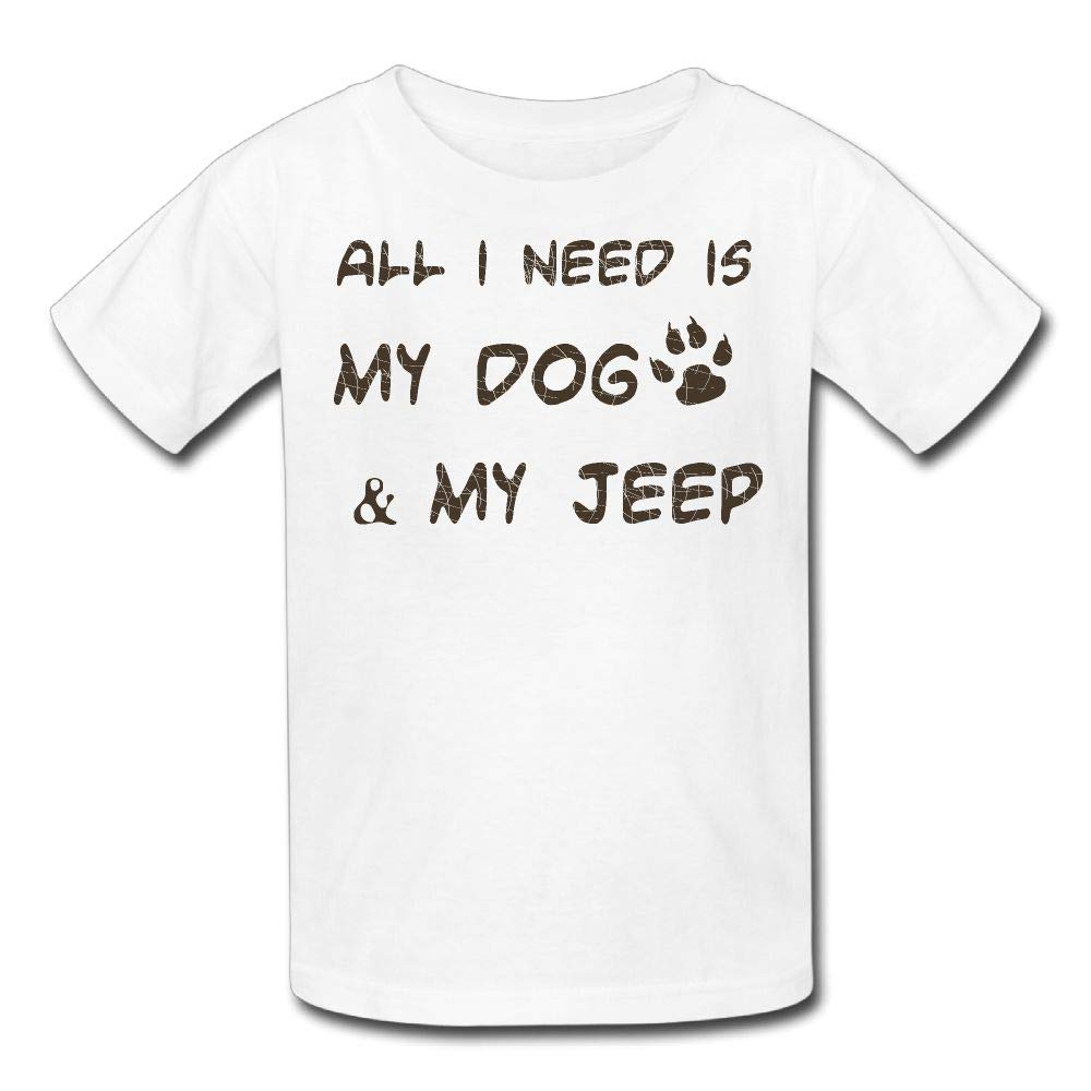 Short-Sleeve Tshirt All I Need is My Dog and My Jeep Youth Girl
