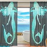 Vantaso Sheer Curtains 84 inch Long Shiny Green Mermaid On Black Background for Kids Girls Bedroom Living Room Window Decorative 2 Panels