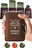 Don\t Die In The Woods World\s Toughest Emergency Blankets | 4 Pack Extra Large Thermal Mylar Foil Space Blanket for Hiking, Marathon Running, First Aid Kits, Outdoor Survival Gear | Green