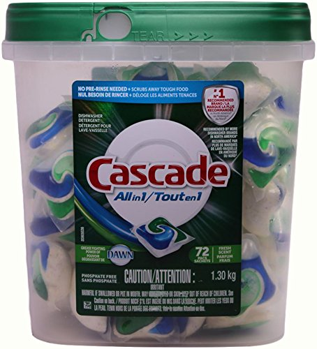 Cascade Actionpacs All in 1 Dishwasher Detergent with Dawn, Fresh Scent, 72 Pacs