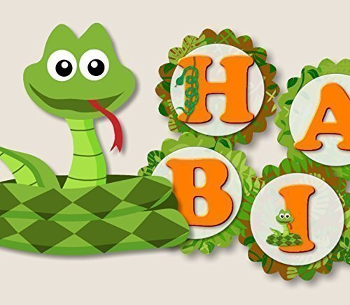 Birthday Banner Designs - Reptile Snake Birthday Banner Party Decorations Supplies -