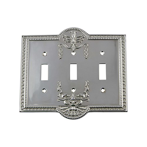 Nostalgic Warehouse 719856 Meadows Switch Plate with Triple Toggle, Bright Chrome