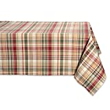 DII 60x84' Rectangular Cotton Tablecloth, Give Thanks Plaid - Perfect for Fall, Thanksgiving, Catering Events, Dinner Parties, Special Occasions or Everyday Use