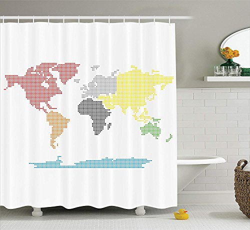 """Ambesonne World Map Shower Curtain, Digital Dotted Colorful World Map on Clear Background Mod Graphic Print, Cloth Fabric Bathroom Decor Set with Hooks, 84"""" Long Extra, White"""