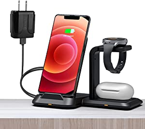 3 in 1 Wireless Charger Station,ANTFIRE Detachable Wireless Charger,Fast Charging Stand Qi-Certified Compatible with iPhone 12/11 Series/XS MAX/XR/XS/X/8 Plus Compatible for Apple Watch AirPods Pro/2