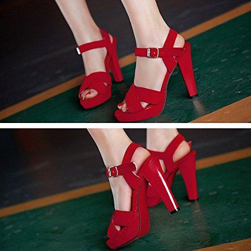 Lucksender Summer Fashion Sexy Ladies PU Leather Flatform Open Toe High Heels Shoes Red KhGVnyNn