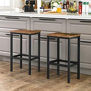 VASAGLE Bar Stools, Set of 2 Bar Chairs, Kitchen Breakfast Bar Stools with Footrest, Industrial, in Living Room, Party Room, Rustic Brown LBC65X