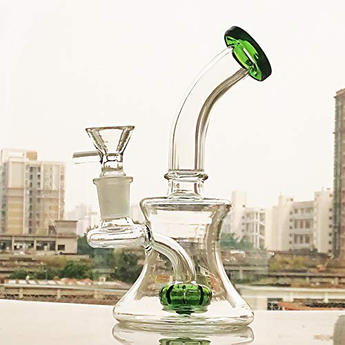 Glass Art Special-Shaped 7 Inch Tall Join 14MM Green (Glass Bowl Art Green)