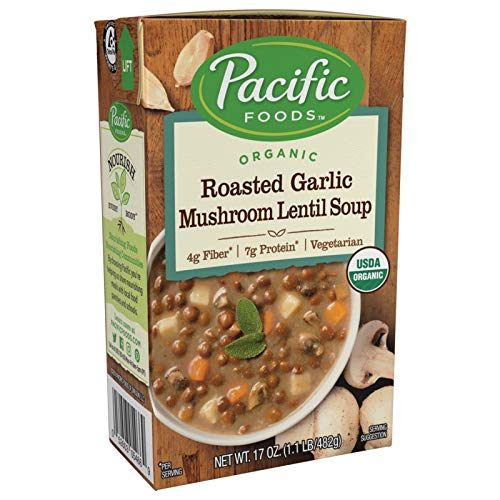Pacific Foods Organic Roasted Garlic Mushroom Lentil Soup, 17 Ounce Cartons, 12-Pack ()