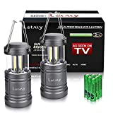 LETMY 2 Pack Camping Lantern with 6 AA Batteries - Magnetic Base - New COB LED Technology Emits 500 Lumens - Collapsible, Waterproof LED Lantern with Detachable Handles (Twin pack)