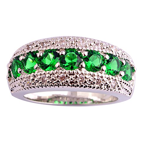 Emerald Sterling Plated - Psiroy 925 Sterling Silver Created Emerald Quartz Filled Half Eternity Band Ring