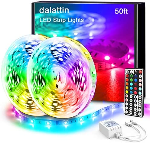 Dalattin Led Lights for Bedroom 50ft,2 Rolls of 25ft RGB 5050 Led Strip Lights Color Changing Kit with 44 Keys Remote Controller and 12V Power Supply Led Light Strips Indoor Decoration