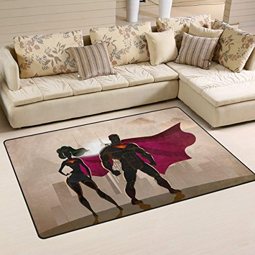 Male and Female Superheroes Welcome Mat Durable Entrance Mat Shoes Scraper Outdoor Rug Design for Front Door 23.6x15.7 inch ()