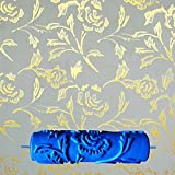MagiDeal 7inch Embossed Peony Flower Pattern Paint Roller New Decorative Painting Roller Brush DIY Tools Blue