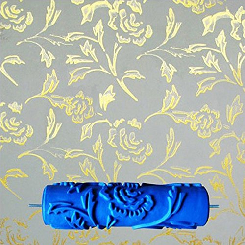 (MagiDeal 7inch Embossed Peony Flower Pattern Paint Roller New Decorative Painting Roller Brush DIY Tools Blue )
