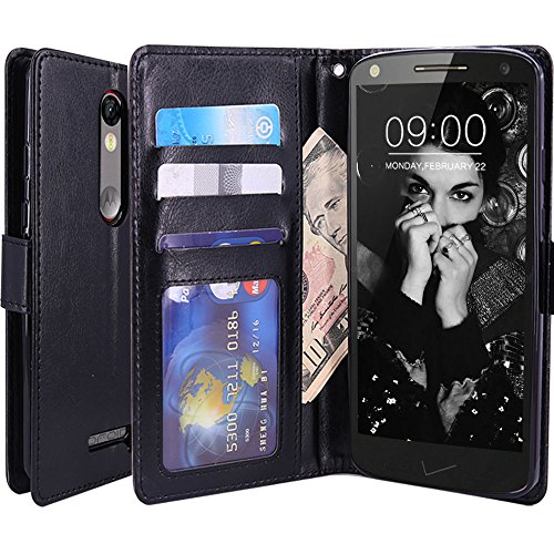 Droid Turbo 2 Case, LK Droid Turbo 2 Wallet Case, Luxury PU Leather Case Flip Cover Built-in Card Slots & Stand For Motorola Moto Droid Turbo 2, BLACK